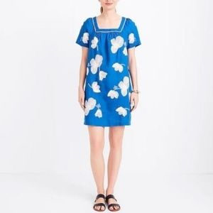 J.Crew Blue White Floral Embroidered Linen Dress